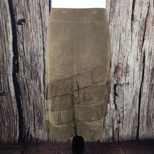 DKNY Suede Ruffled a Line Skirt Brown Tiered 8